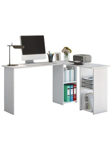 VCM  Holz Eckschreibtisch Computertisch Lusias in Weiß