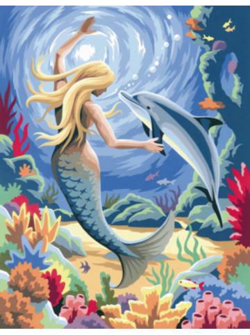 MAMMUT Spiel und Geschenk Malen nach Zahlen Junior Meerjungfrau