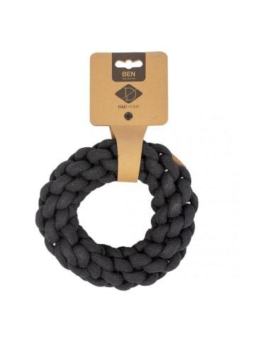 DREAM and DARE  Hundespielzeug geflochtener Ring Ben M, 13 x 13 x 4,5 cm, schwarz