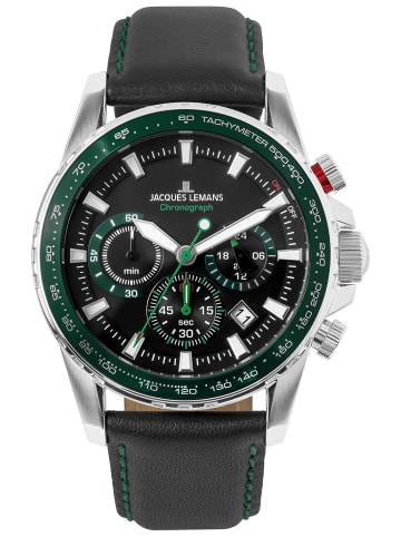 Jacques Lemans Herren-Armbanduhr Chronograph Liverpool Schwarz/Grün