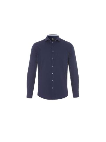 HATICO Langarm Freizeithemd in marineblau