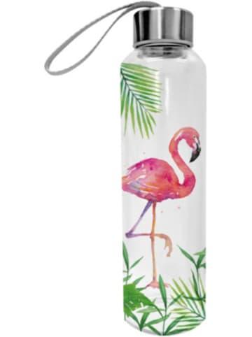 "Ppd Glas-Trinkflasche ""Tropical Flamingo"" 0,55l mit Trageschlaufe"