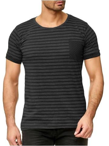 Urban Surface Design Print Kurzarm T-Shirt in Schwarz