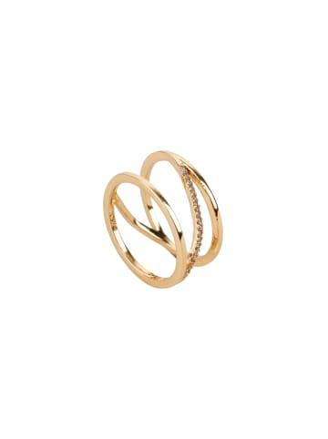 TOSH Ring mit Verzierung in Glanz-Optik in vergoldet