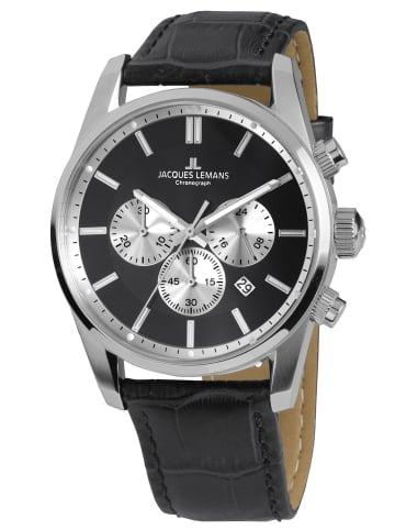 Jacques Lemans Herrenuhr Chronograph Classic Schwarz / Silber