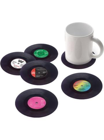 """Gift Republic 6er-Set Glas-Untersetzer """"Schallplatten"""" Ø10,5 cm"""