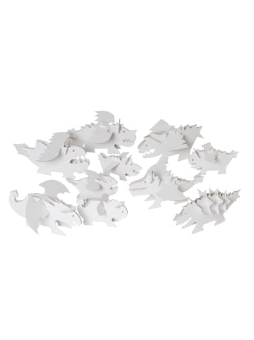 """Bibabox 10tlg.-Set: Pappspielzeug """"Drachen"""" in Weiß"""
