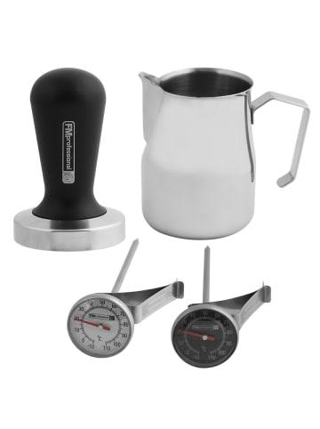 FM Professional Barista Set - Tamper für Kaffeemehl, Milchkännchen, Thermometer