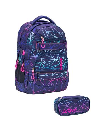 "Wave Rucksack ""Infinity Stripes Purple Set1"" in schwarz, H 43 cm B 31 cm T 22 cm"