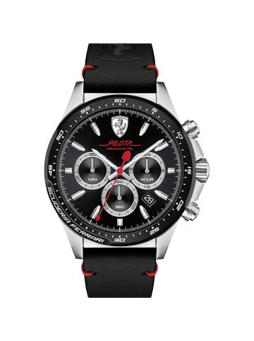 Scuderia Ferrari Chronograph Uhr 'Pilota' in Schwarz/Schwarz