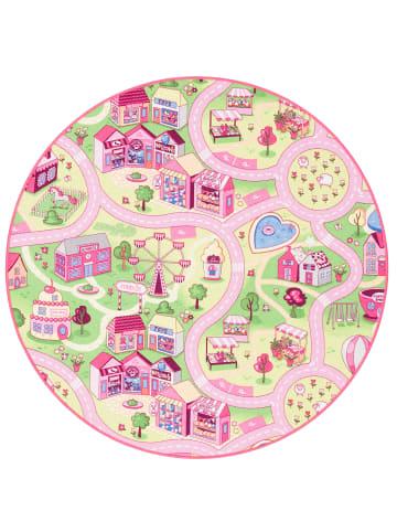 Snapstyle Kinder Spiel Teppich Girls Village Rund in Rosa