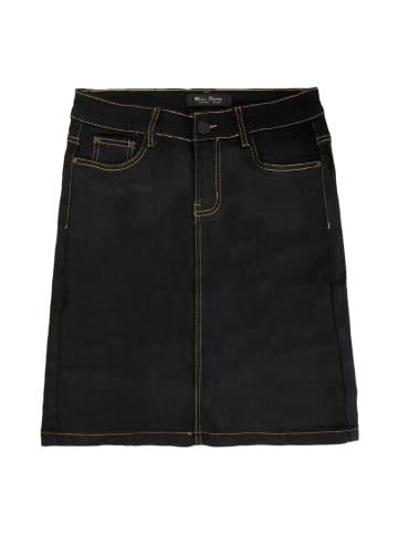 MISS FANNY Jeans Rock Stretch Knielang Midi Skirt Dicke Kontrast Naht in Schwarz