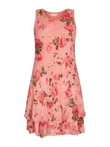 Made in Italy Sommerkleid in Koralle/Rot/Grün