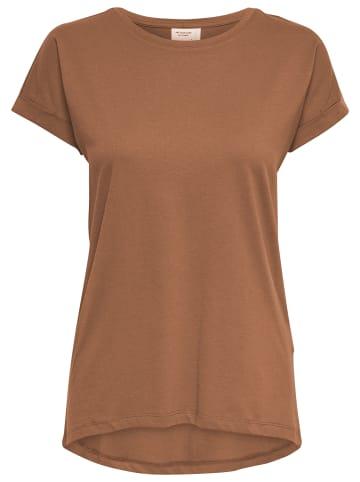 JACQUELINE de YONG T-Shirt Short Sleeve Bluse Round Neck Long Shirt JDYLOUISA in Hellbraun