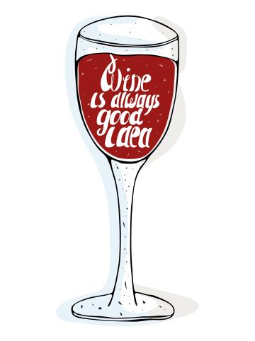 """Dekodino Wandtattoo """"Weinglas mit Schriftzug"""" in Rot"""