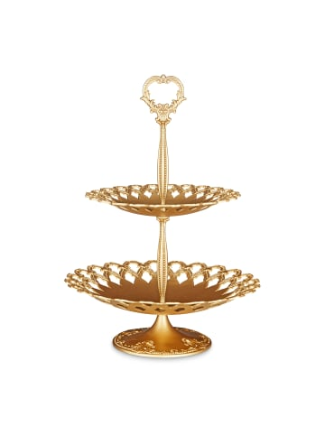 Relaxdays 1 x Etagere in Gold - (H)44 x ø31 cm