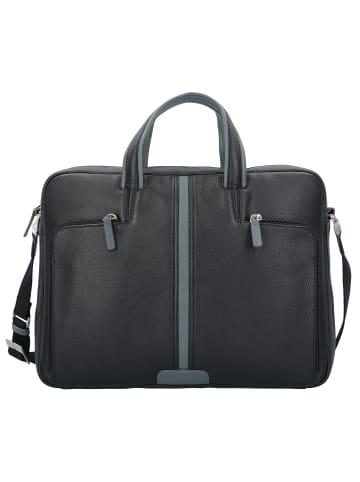 Piquadro Aktentasche Leder 39 cm Laptopfach in schwarz grau