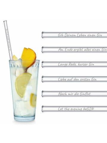 """HÅLM 6er Set Trinkhalm: """"Gin Edition"""" Glas-Strohhalme in Transparent - 23 cm"""