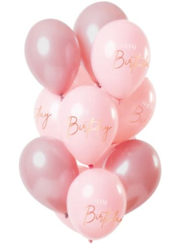 FOLAT Luftballons Happy Birthday rosa/pink 30 cm, 12 Stück