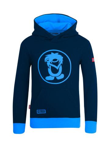 """Trollkids Hoodie Pullover mit Kapuze """"Troll"""" in Marineblau / Mittelblau"""