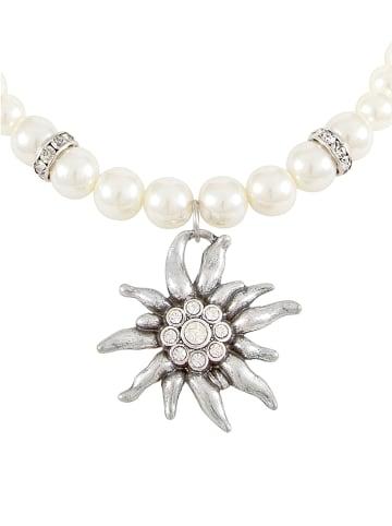 Six Perlenkette mit Edelweiß-Design in weiß