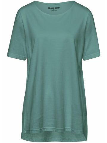 Green Cotton Shirt mit Rundhalsausschnitt in wassergrün