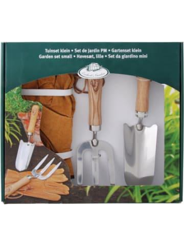 Esschert Design Edelstahl Gartenset mit Blumenkelle, Gabel und Handschuhen