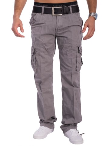 Max Men Cargo Hose Arbeitshose Trekking Chino Jeans Hose in Grau