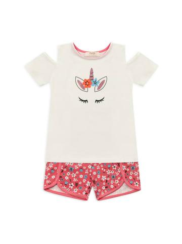 Panco Pyjama - mit Einhorndruck - für Mädchen in Weiß