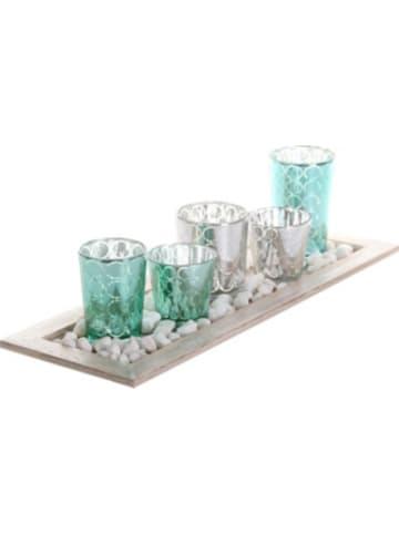 Tawo Holztablett mit 5 Teelichtgläsern und Steinchen, L/B/H: 44x12x15 cm