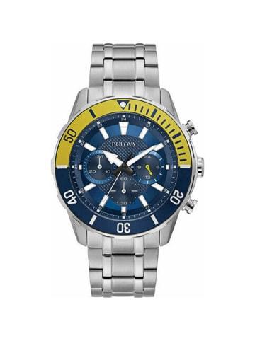 Bulova Chronograph Uhr '98A24' in Silber/Blau