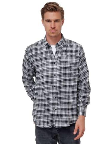 SECOLO Kariertes Flanell Hemd Button-Down Kragen Holzfäller Freizeithemd in Schwarz