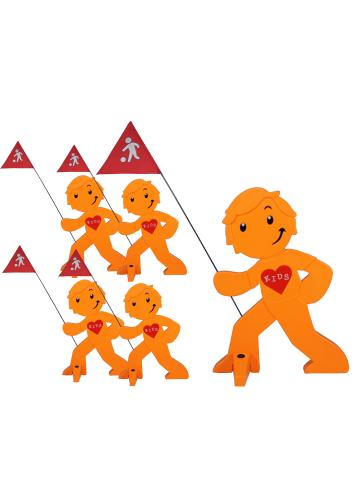 StreetBuddy StreetBuddy Warnfigur für Kindersicherheit in Orange, 5-er Pack