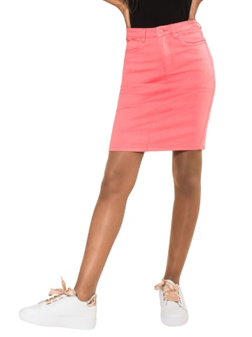 Simply Chic Rock Jeans Optik Knielang Stretch Midi Skirt Schlitz in Pink