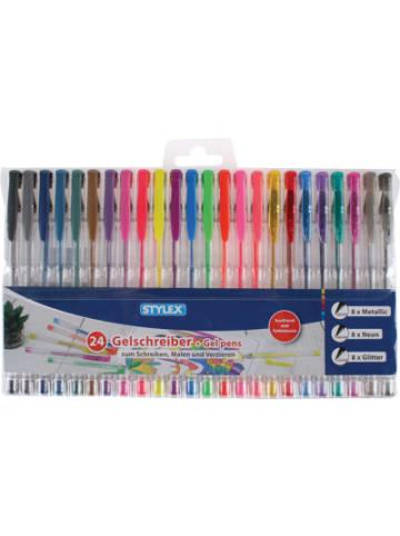 STYLEX Gelmalschreiber Neon, Metallic & Glitter, 24 Farben