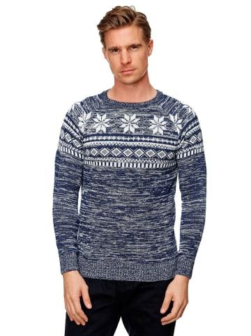 Forbest Pullover Strick Streifen Snow Longsleeves Rundhals in Blau