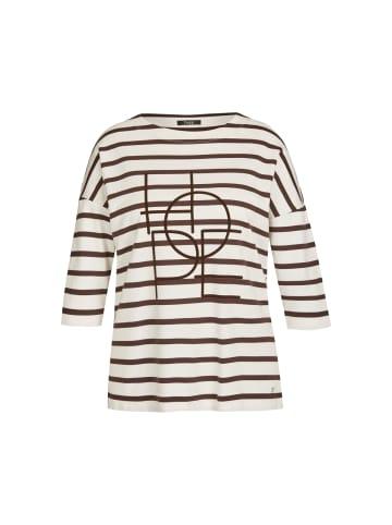 FRAPP  Pullover Zeitloses 3/4-Arm-Shirt mit gestreiftem Muster in chocolate / off whit