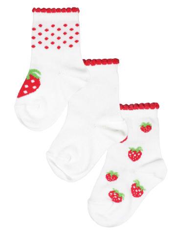 Rogo Socken von ROGO im 3er Pack Erdbeeren in weiß