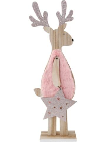 """Michel toys Deko-Figur """"Rentier in pink"""", 14x6x44cm"""