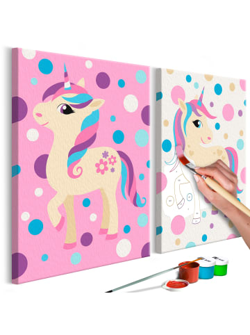 Artgeist Malen nach Zahlen Einhörner (in pastellenen Farben) in rosa,Grau,Blau,Beige
