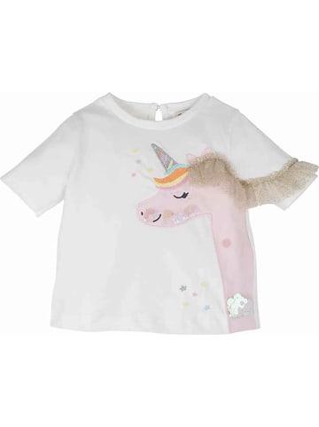 Mamino Kindermode Baby Mädchen T-Shirt mit Applikationen in creme