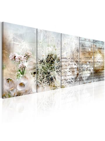 Artgeist Wandbild Abstract Dandelions I in Beige,Schwarz,Blau,Grün,rosa,Weiß