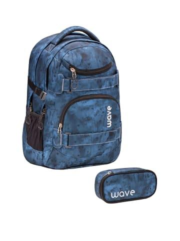 "Wave Rucksack ""Infinity Gloomy Set1"" in blau, H 43 cm B 31 cm T 22 cm"