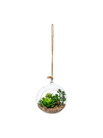 Creativ green Deko-Sukkulente mit LED in grün