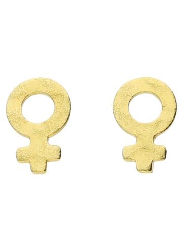 Six Ohrstecker vergoldet aus 925er Silber mit Female-Motiv in goldfarben