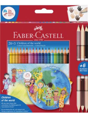 Faber-Castell Buntstifte COLOUR GRIP Charité-Set Children of the World, 20 & 3 Farben