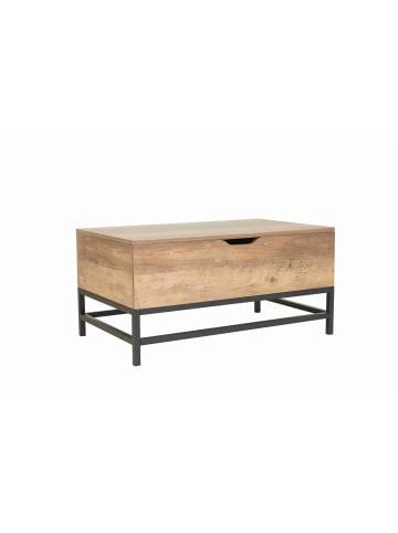 HappyHome Couchtisch rechteckig mit Klappfunktion in Holz, Schwarz - L80 x B48 x H43 cm