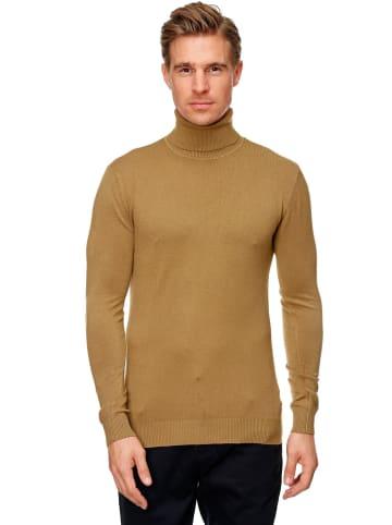 Uniplay Rollkragen Pullover Longsleeves Viskose Stretch in Khaki-Braun
