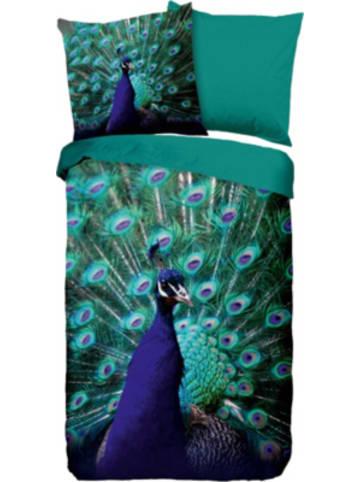 """Pure Wende-Bettwäsche """"Mighty Peacock"""" 135x200 + 80x80 cm"""