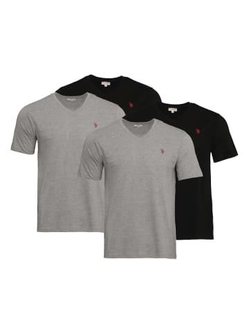 "U.S. Polo Assn. 2 x 2er Set T-Shirt ""Vneck "" in Schwarz/Grau"